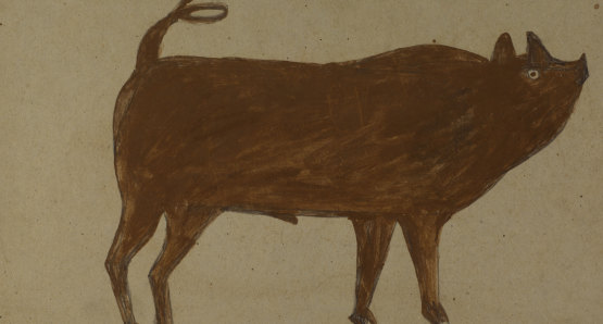 Untitled (Pig with Corkscrew Tail) by Bill Traylor from the collection of the Smithsonian American Art Museum, Gift of Chuck and Jan Rosenak @1994 Bill Traylor Family Trust