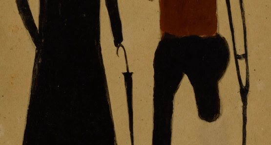 Untitled (Woman with Umbrella and Man on Crutch) by Bill Traylor from the collection of the Smithsonian American Art Museum @1994 Bill Traylor Family Trust