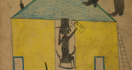Untitled (Yellow and Blue House with Figures and Dog) by Bill Traylor from the collection of the Smithsonian American Art Museum @1994 Bill Traylor Family Trust
