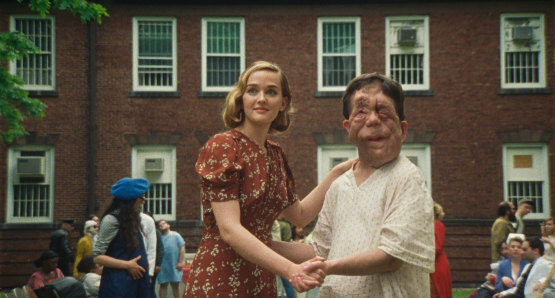 Jess Weixler and Adam Pearson in a scene from <i>Chained for Life</i>, courtesy Kino Lorber