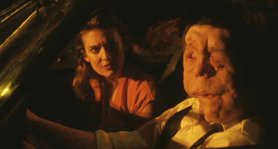 Lucy Kaminsky and Adam Pearson in a scene from <i>Chained for Life</i>, courtesy Kino Lorber