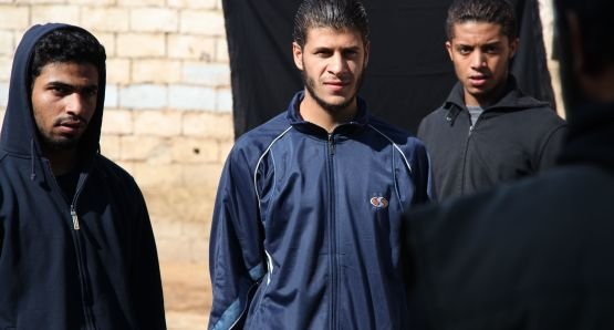 Left to right: Yachine (Abdelhakim Rachid), Fouad (Ahmed El Idrissi Amrani), and Nabil (Hamza Souidek).