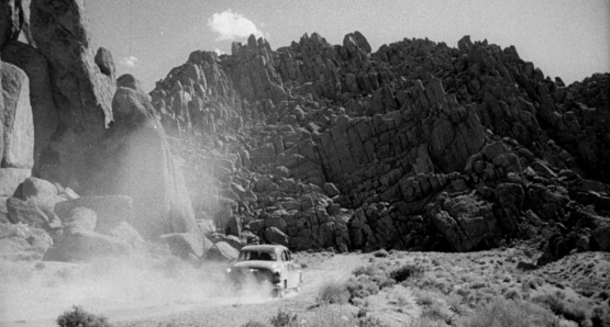 Ida Lupino's THE HITCH-HIKER features the distinctive rock formations and terrain of Lone Pine.